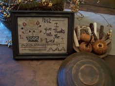 EARLY INSPIRED~~1802 I GIVE THANKS SAMPLER~~(LB) Sampler by Linda Babb www.picturetrail.com/theprimitivestitcher