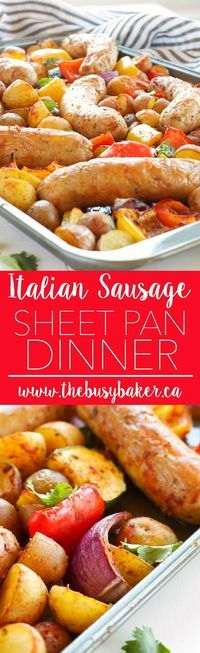 This Italian Sausage Sheet Pan Dinner is the perfect easy weeknight meal! Recipe from www.thebusybaker.ca