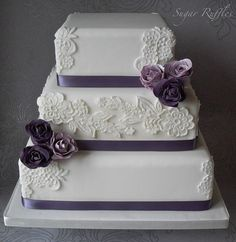 Lace and Purple Roses Wedding Cake | Flickr - Photo Sharing!