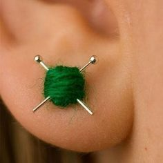 These ear studs are tiny balls of yarn with miniature knitting needles. Perfect for the fashionable knitter or anyone who loves the knit! The yarn is undyed laceweight merino wool. Hidden Weapons, Yarn Ball, Diy Schmuck, Ear Studs, Earring Studs, Knitting Needles, Spool Knitting, Jewelry Crafts, Knit Crochet