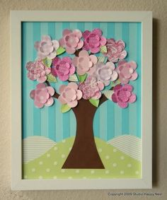 Paper tree collage, colors perfect for nursery! Fun Crafts, Diy And Crafts, Crafts For Kids, Arts And Crafts, Paper Crafts, Scrapbook Wall Art, Scrapbook Paper, Scrapbooking, Nursery Wall Art
