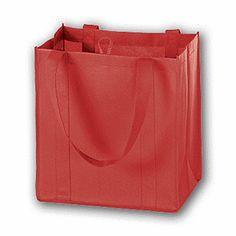 "Red Unprinted Non-Woven Market Bags, 12 x 8 x 13""  100/ $145"