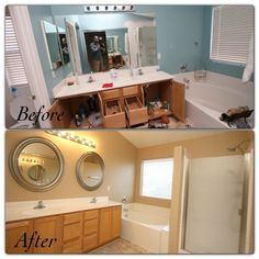 Before and after of the master bathroom. We repainted, added new modern mirrors, and took out the old carpet and replaced with new vinyl flooring.