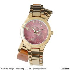 Marbled Rouge I Women's Wrap-around Gold Watch Designed by Artist C.L. Brown with 3-hand analog Japan Quartz® and buckle closure. The watch is water resistant up to 3 ATM (98.4 ft) and comes with a 1 year manufacturers limited warranty. Battery included.