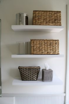 8 inches deep. At Lowe's -very inexpensive too! good bathroom shelves above toilet