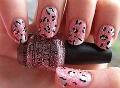 Pink leopard manicure  .