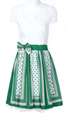 White Green Short Sleeve Bead Bow Polka Dot Dress pictures