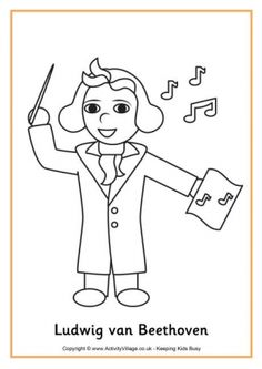 Beethoven Colouring Page Preschool Music, Music Activities, Educational Activities, Around The World Theme, Music Crafts, Fun Songs, Cool Coloring Pages, Fun Illustration, Stem Science