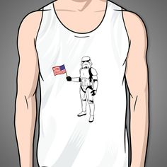 89da7b7ef2d13e Storm Trooper With Flag on a White Tank Top – Print Proxy
