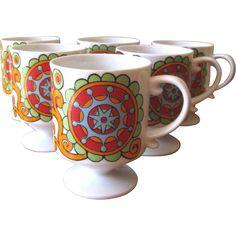 Vintage 1960's Mod Flower Power Ceramic Mugs - Set of 6 at WhimsicalVintage on RubyLane.com