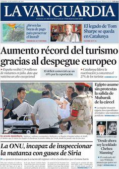 Los Titulares y Portadas de Noticias Destacadas Españolas del 23 de Agosto de 2013 del Diario La Vanguardia ¿Que le pareció esta Portada de este Diario Español?