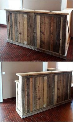 Wood Pallet Ideas 87 Epic Pallet Bar Ideas to Embrace for Your Event - Pallets are a great resource for diy projects that require wood as they`re easy to find, inexpensive andmodular, a free resource for pallet bar ideas! Recycled Pallet Furniture, Recycled Pallets, Wooden Pallets, 1001 Pallets, Bar Deco, Deco Cafe, Diy Pallet Projects, Wood Projects, Recycling Projects
