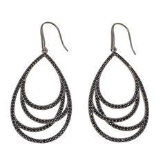 """Sevilla Silver™ with Technibond® Black Spinel """"Crisscross"""" Drop Earrings"""