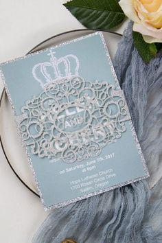 dusty blue and silver monogram wedding invitations Monogram Wedding Invitations, Elegant Invitations, Peach Bridal Showers, Sage Wedding, Wedding Blue, Grand Jour, Summer Wedding Colors, Geometric Wedding, Invitation Card Design