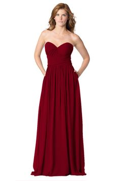 Convertible strapless sweetheart dress with pleated bodice, pockets, with a low back and center back zipper. Inner bodice loops and side panels allow for convertible necklines and endless shoulder and back strap options. | Style: BC-1627 & BC-1627-S in Berry #bridesmaids #weddings