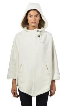 Women's cream Hoodlamb poncho - front