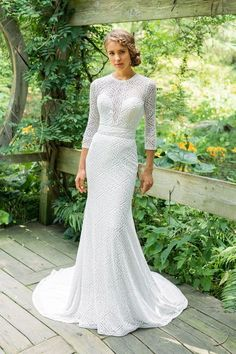 25d0f9866f9 Lillian West - Style 66023  Three Quarter Sleeve Allover Lace Fit and Flare
