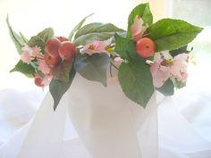 Peach and Pink floral Fairy Renaissance head dress or hair wreath