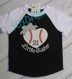 Raglan Baseball Style Shirt -Little Sister Heart Baseball with Glitter Bow - Baseball Sister Shirt by XOXOAsh on Etsy