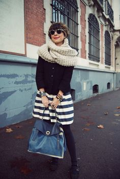 round sunnies, scarf, skirt