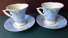 2 YEDI Design CLASSIC COFFEE China Cup & Saucers USED Vintage