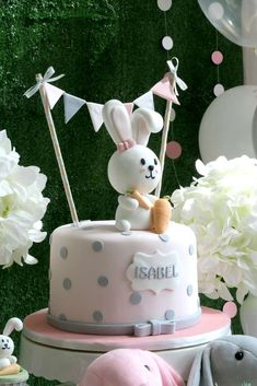 laine Events's Birthday / Rabbit Theme - Photo Gallery at Catch My Party Bunny Birthday Cake, Baby Girl Birthday Theme, Colorful Birthday Cake, 1st Birthday Cakes, First Birthday Parties, Birthday Party Themes, First Birthdays, 21 Birthday, Birthday Ideas