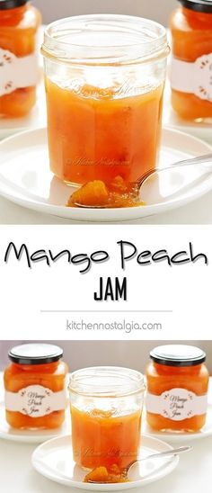 Mango Peach Jam - preserve peaches by combining them with mangoes and turning into a delicious jam - kitchennostalgia.com
