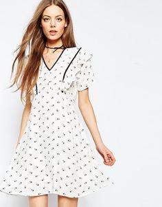 ASOS Printed Tea Dress with Ruffle Detail