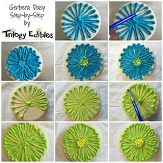 Gerbera Daisy step by step on my FB page. #tutorial #customcookies #spring