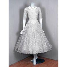 1950s Ivory White Sweetheart Plunge Ballerina-Cupcake Dress from Timeless Vixen