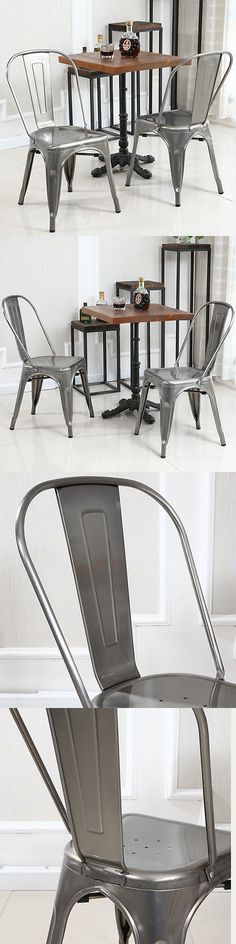 Bar Stools 153928: Set Of (4) Steel Chair Furniture Vintage Antique Bistro Dining Chairs, Gunmetal -> BUY IT NOW ONLY: $165.99 on eBay!
