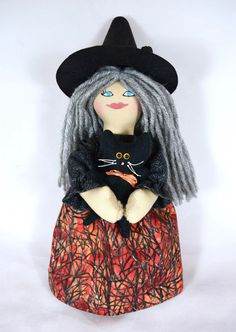 Halloween Witch Doll With Black Cat, Crow - Toy Or Decoration - Handmade