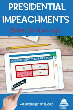 This amazing product has 35 interactive boom slides Presidential Impeachment. There are boom cards with tons of information about the electoral college with a true-false, fill-in-the-blank, short answers, and matching questions about the reading. This is a fun and interactive way to learn about how the president can be impeached.