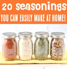 Homemade Seasonings Recipes - Easy DIY Mixes You Can Make at Home! Not only will you save BIG when you make your own, you'll also know exactly what ingredients are going into your seasonings! These blends will make you a kitchen superstar and give your dinners a serious flavor upgrade! Go grab the recipes & give some a try this week! Homemade Dry Mixes, Homemade Spices, Homemade Seasonings, Beef Recipes, Cooking Recipes, Easy Recipes, Recipe Mix, Seasoning Mixes, Spice Mixes
