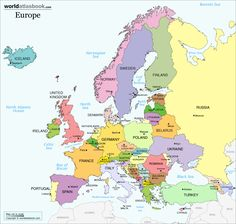 Printable map of europe continent with country names. Countries Europe, African Countries, European Countries, European Map, Europe Continent, World Map Quiz, Malta Map, Poland Germany, Poland Map