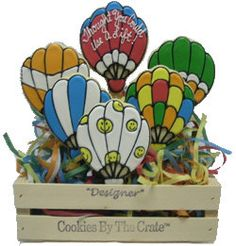 Get Well Hot Air Balloon Cookie Crate Bouquet by ClawsonCookies on Etsy https://www.etsy.com/listing/194485033/get-well-hot-air-balloon-cookie-crate