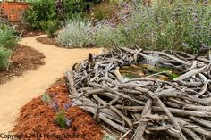 Creative use ot twigs! Hillside Garden, Meadow Garden, Garden Pool, Dream Garden, Garden Paths, Water Wise Landscaping, Garden Landscaping, Landscaping Ideas, Prairie Meadows