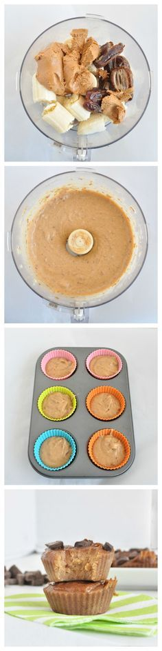 Flourless Peanut Butter Muffins. NO flour and NO added sugar. All you need is 3 ingredients! #vegan #glutenfree #grainfree #healthyrecipe #healthyeats #peanutbutter #recipe #muffins