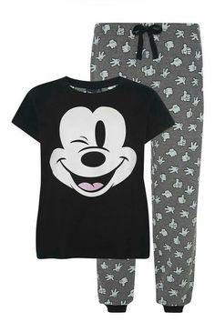 Primark - Black and Grey Mickey Mouse PJ Set Cute Pajama Sets, Cute Pjs, Cute Pajamas, Pajamas Women, Lazy Day Outfits, Cute Comfy Outfits, Girl Outfits, Pajama Outfits, Disney Outfits