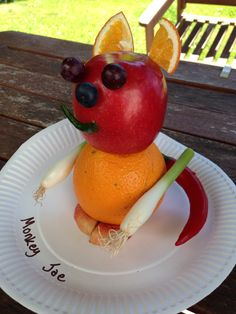 Animal made from fruit. Monkey Joe made by my 9 year old.