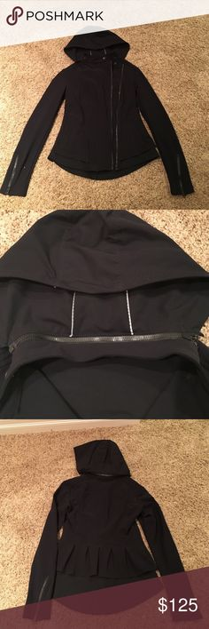 Lululemon black jacket with zip off hood. Lululemon jacket with such great detail!  Double asymmetric zipper.  Zippers on sleeves.  Back is double layers.  Vented arms and snapped closed pockets... so much to mention can certainly provide more details.  I have so many black coats ... I had to choose.  This one works well in the rain ☔️ lululemon athletica Jackets & Coats