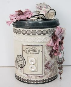 Today I want to share two design team projects for Pion Design, A layout featuring little me and an altered tin can. Shabby Vintage, Vintage Crafts, Vintage Paper, Altered Tins, Altered Bottles, Tin Can Crafts, Arts And Crafts, Decoupage, Recycled Crafts