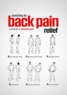 Back Pain Relief Workout Fitness Exercise Fitness Workouts, Yoga Fitness, At Home Workouts, Health Fitness, Chair Exercises, Stretching Exercises, Stretches Before Workout, Back Stretching, Back Stretches For Pain