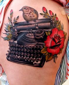Vintage Typewriter Tattoo | used a antique typewriter that I own as reference. Bad pic. Curve of ...