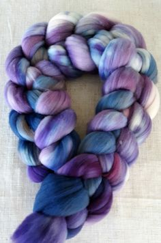 Handdyed Rambouillet Roving Top Soft and Squishy 4oz. A Treat To Spin