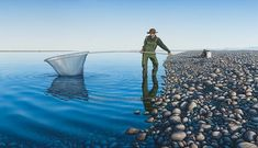 Here is Michelle Bellamy's painting, Whitebaiter Fisherman, Acrylic on Board, Nz Art, Original Artwork, Seasons, Mountains, The Originals, Country, Gallery, Painting, Travel