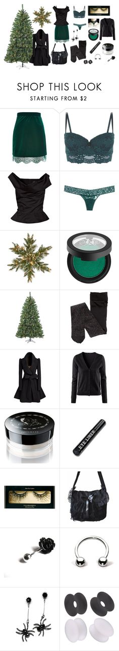 """""""Christmas party"""" by mietz ❤ liked on Polyvore featuring River Island, Vivienne Westwood Anglomania, Hanky Panky, National Tree Company, Kat Von D, Sterling, H&M, ArtDeco, Illamasqua and Retrò"""