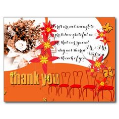 Tangerine Burst Wedding Thank You -- personalize and order affordable wedding invitations