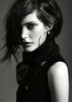Model headshot black and white regal edgy