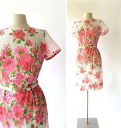 1950s Pink Roses print voile dress by L'Aiglon